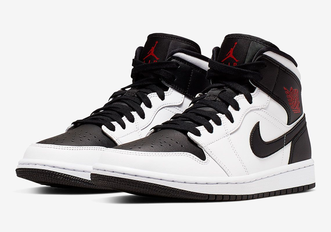 100% quality clearance sale half off Jordan 1 Mid Reverse Black Toe BQ6472-101 Release Info | Air ...