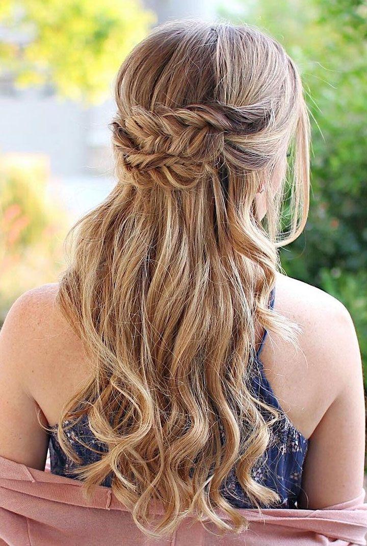 Pretty Braids and hair down Wedding Hair style idea