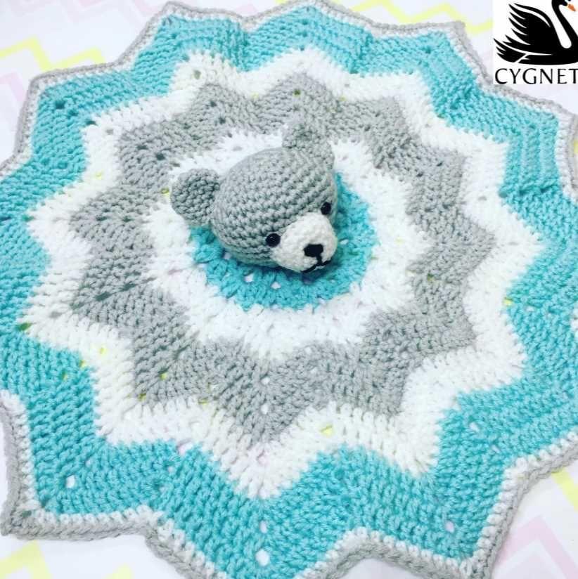 Teddy Bear Lovey Blanket Free Crochet Pattern #crochetsecurityblanket