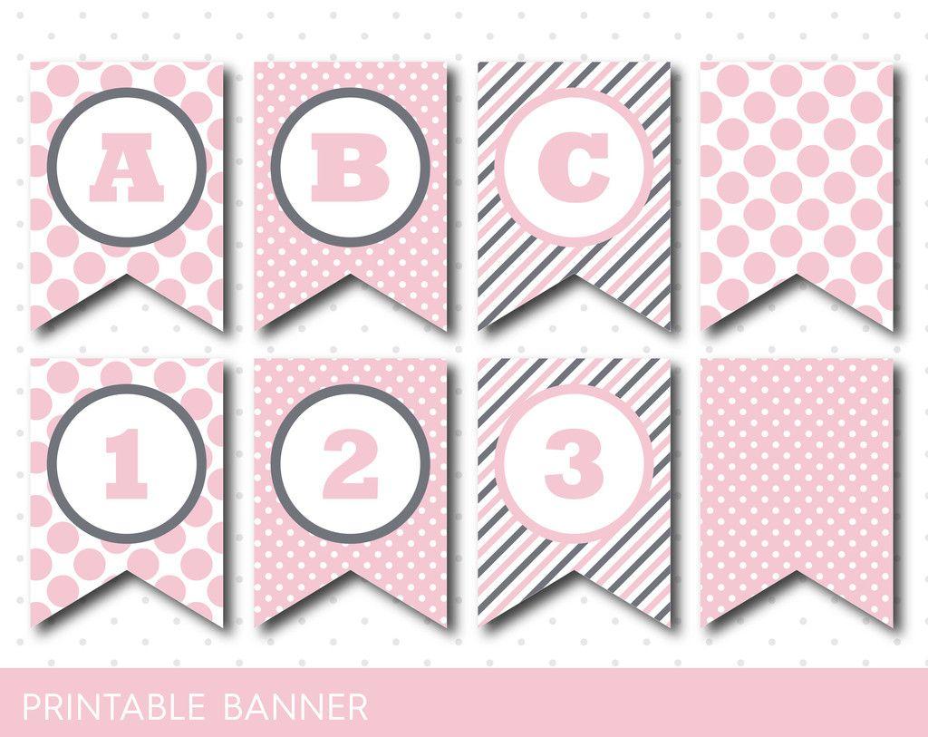 Pink Banner Party Banner Birthday Banner Baby Shower Banner