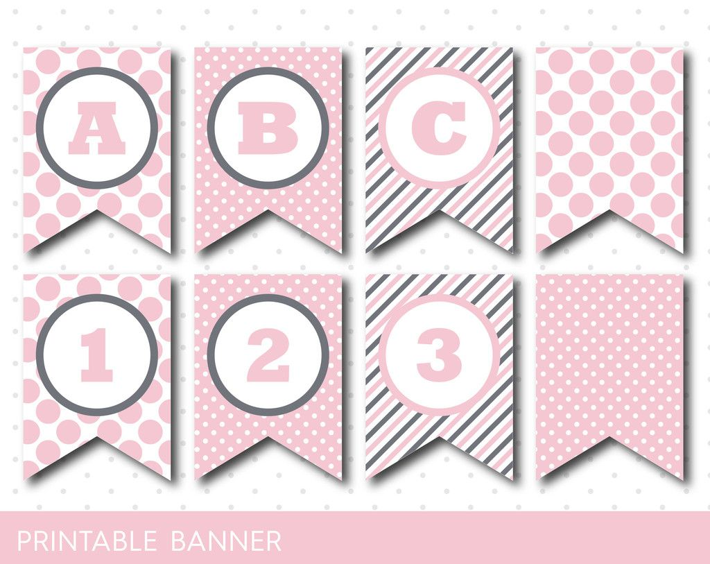pink banner party banner birthday banner baby shower banner printable banner banner letters polka dot banner pb 21