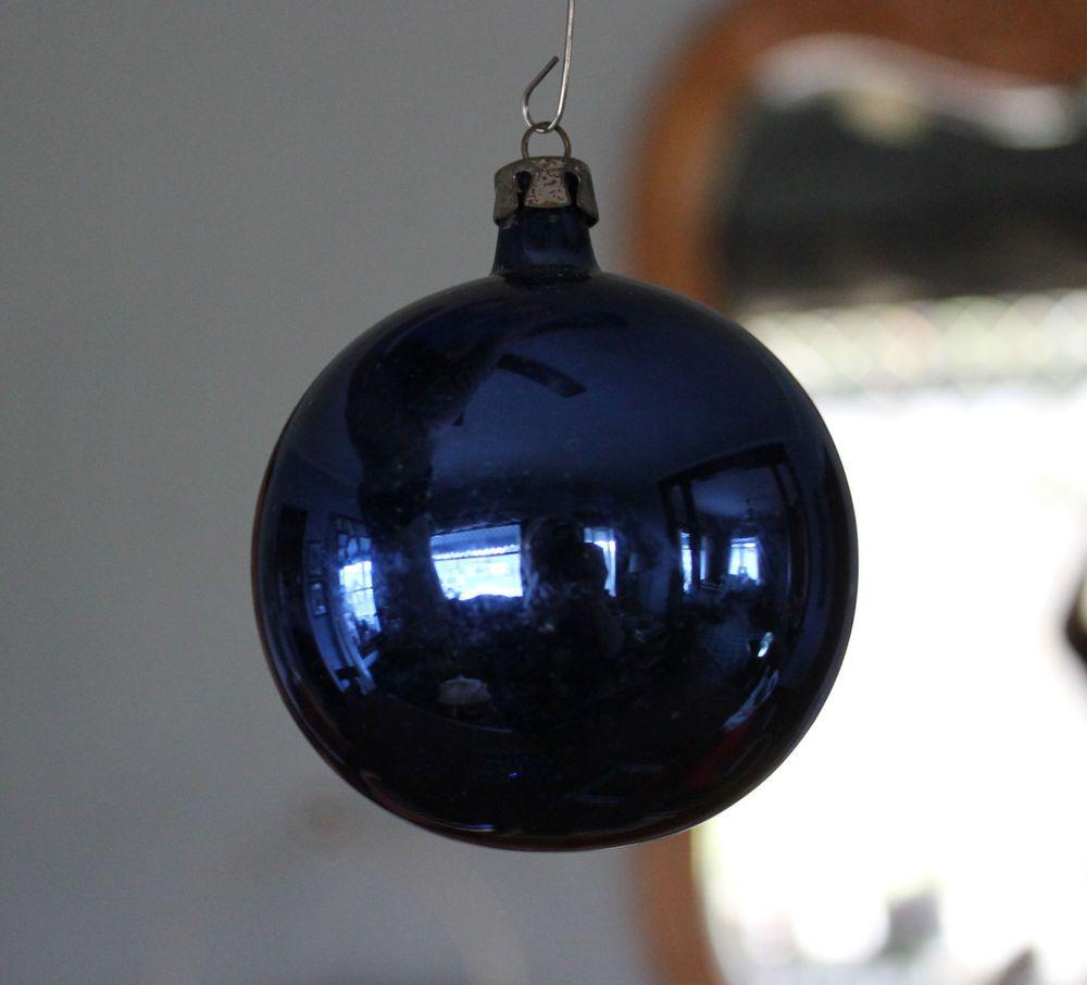 Lot Set 11 Vintage Cobalt Blue Indigo Mercury Glass Christmas Ornaments Poland