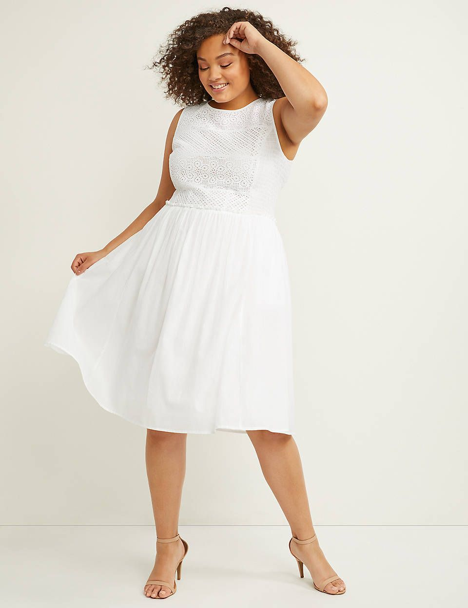 Eyelet Fit Flare Dress With Smocking Fit Flare Dress Flare Dress Military Ball Dresses [ 1248 x 960 Pixel ]