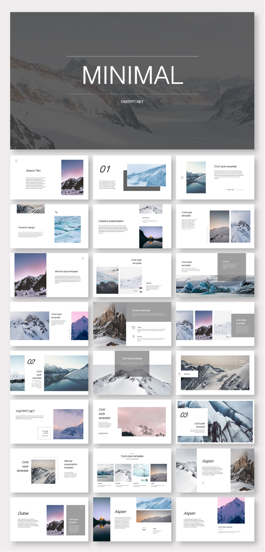Clean & Cold Photo Layout Presentation Template #powerpoint