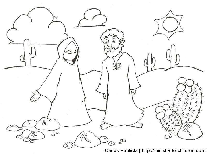 Jesus Tempted Coloring Page