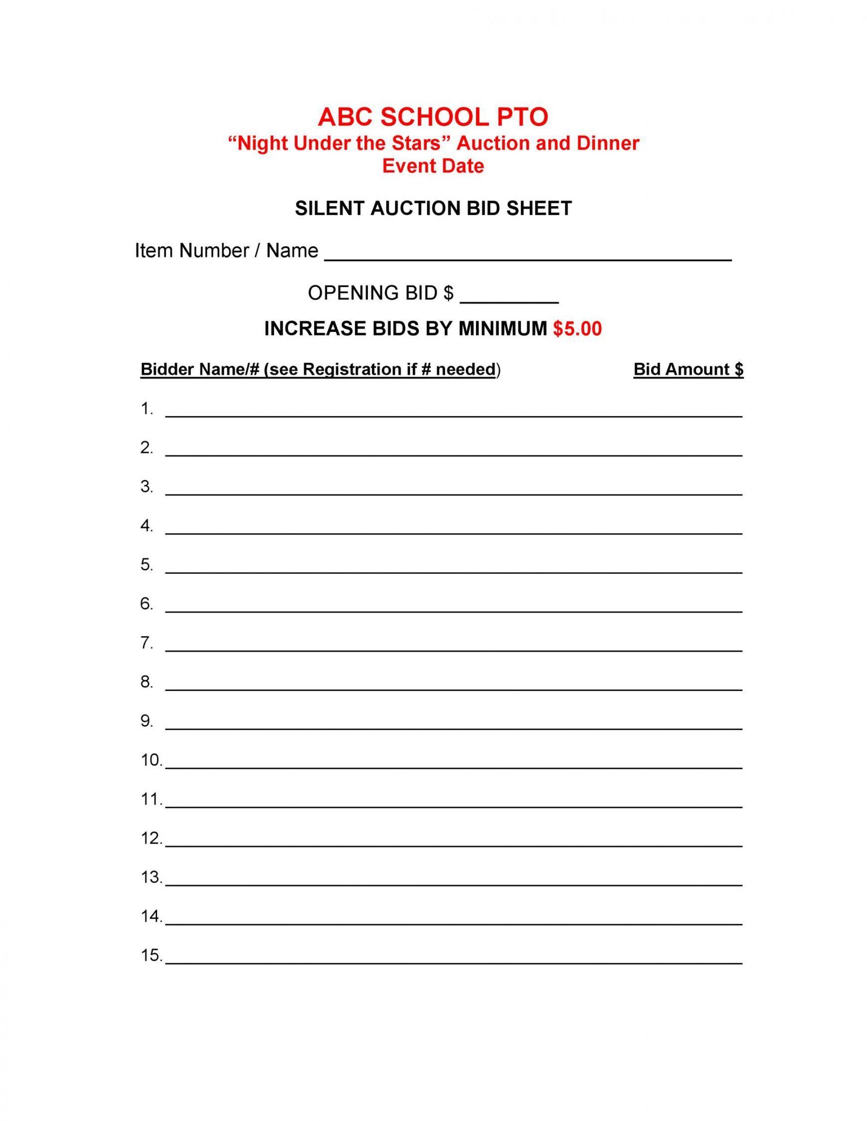 Explore Our Sample Of Silent Auction Receipt Template Silent Auction Bid Sheets Auction Bid Silent Auction