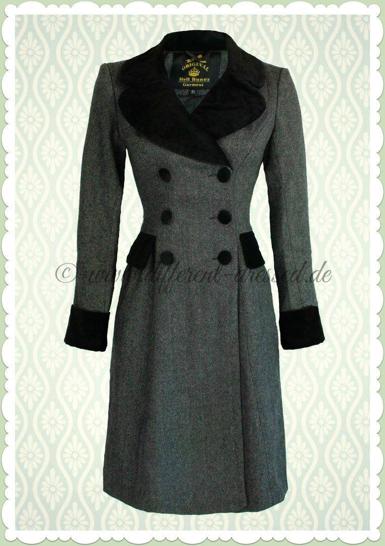 Hell Bunny 50er Jahre Vintage Retro Woll-Mantel - Amazon Coat - Grau ...