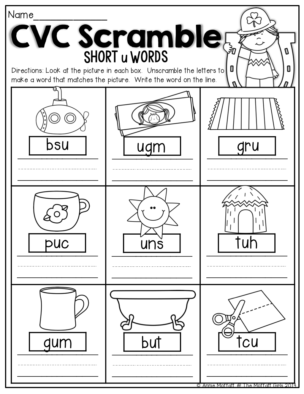 cvc scramble unscramble the cvc words to match the picture kindergarten activities. Black Bedroom Furniture Sets. Home Design Ideas