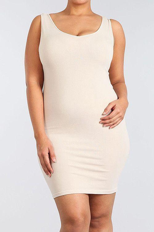 Plus Size - V Neck/Scoop Neck Tank Dress