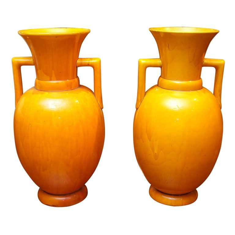 Pair Of Japanese Awagi Ware Large Yellow Vases For The Home