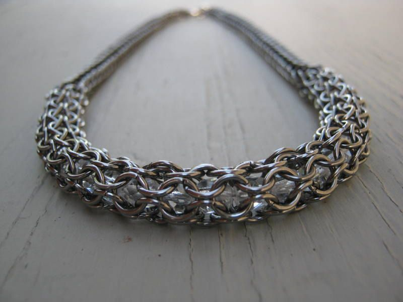 Ladies Necklace/ Chainmaille Necklace/ Captured bead, full persian graduated necklace/ Mothers Day Gift.