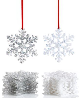 Holiday Lane Box of 12 Snowflake Ornaments macys Wreaths and - christmas clearance decor