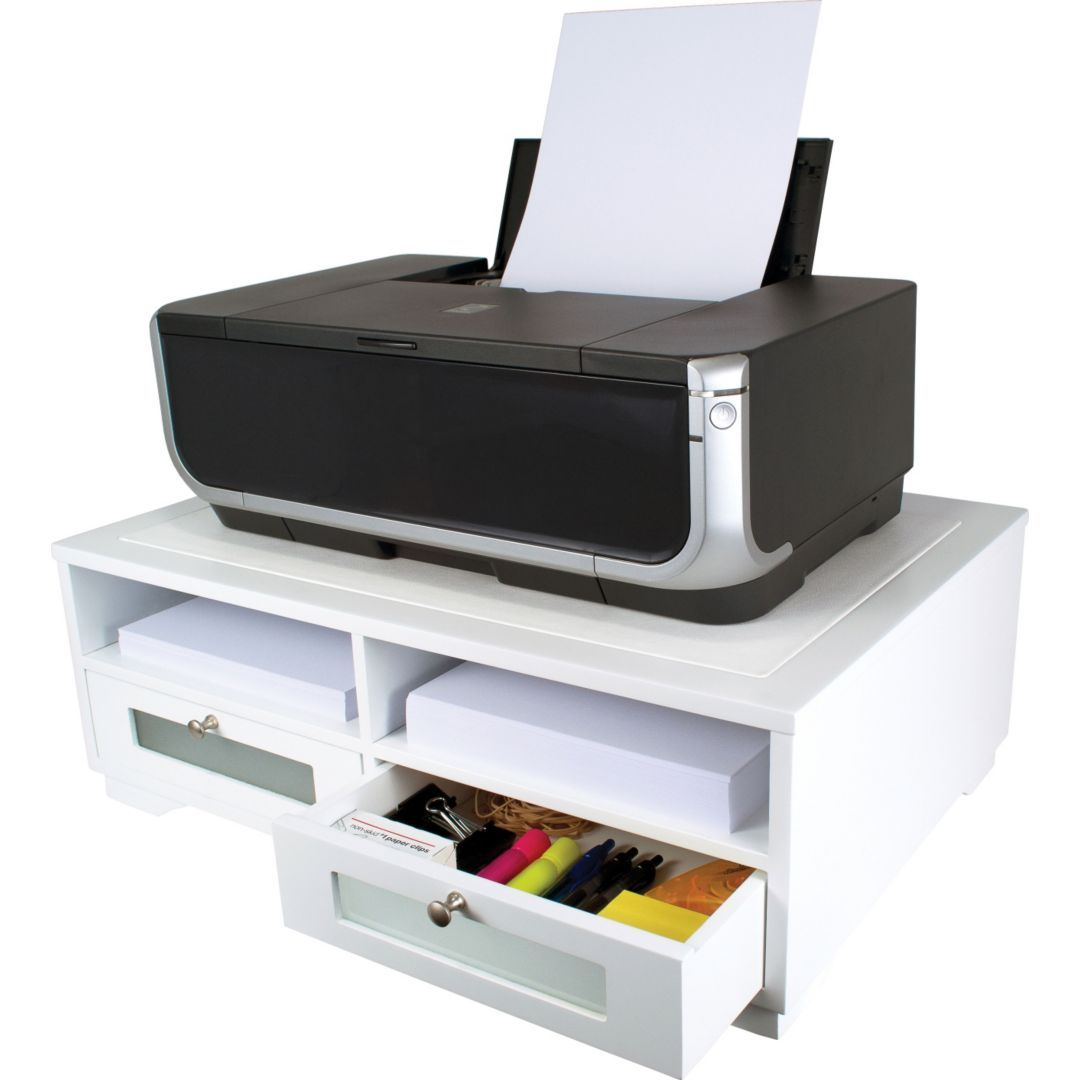 Victor Wood Printer Stand Pure White Quill Com Printer Stand Printer Stands Printer Storage