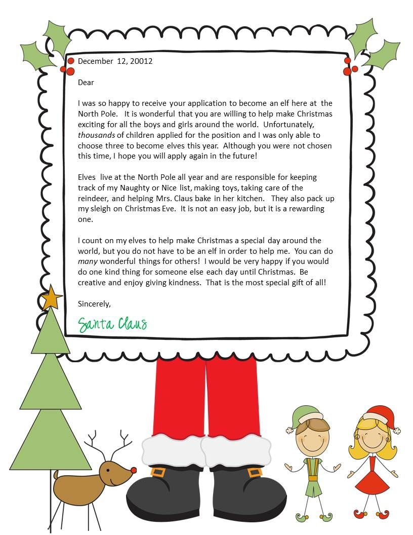 Elf Application and Letter From Santa Santa letter