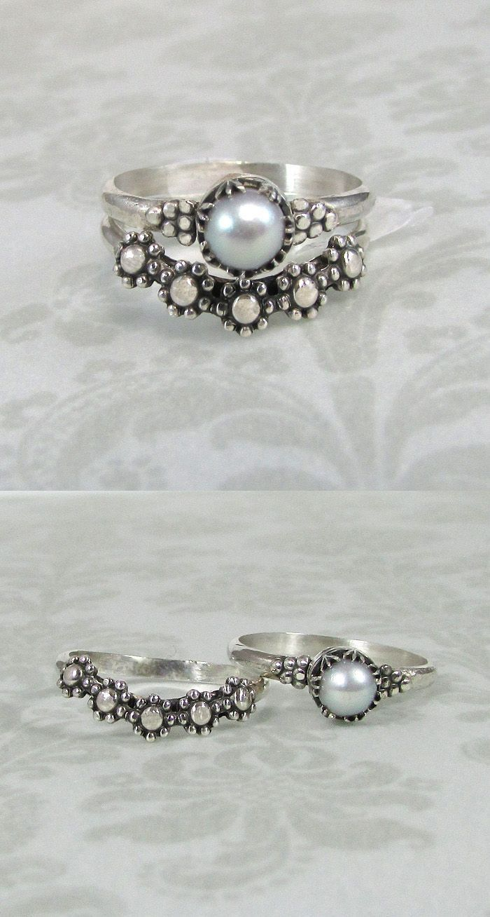 Vintage style,Victorian inspired dove gray pearl ring and