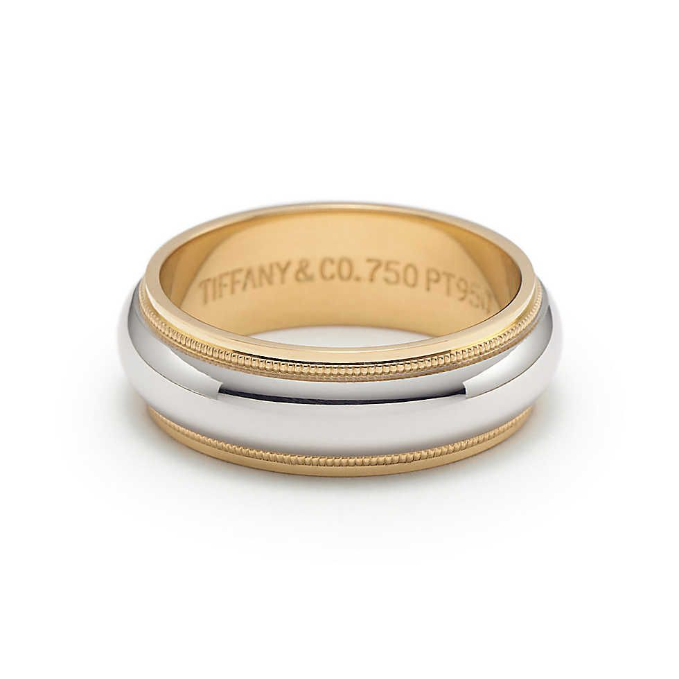 f3220d6c2 Milgrain wedding band ring in platinum and 18k gold, 6mm wide. | Tiffany &  Co.