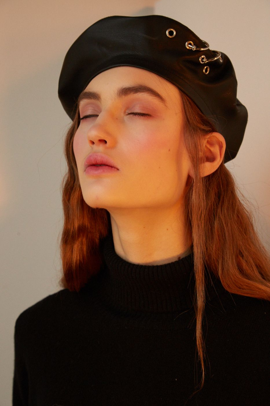 be3fd8535298f Black eco leather beret with eyelets and piercings