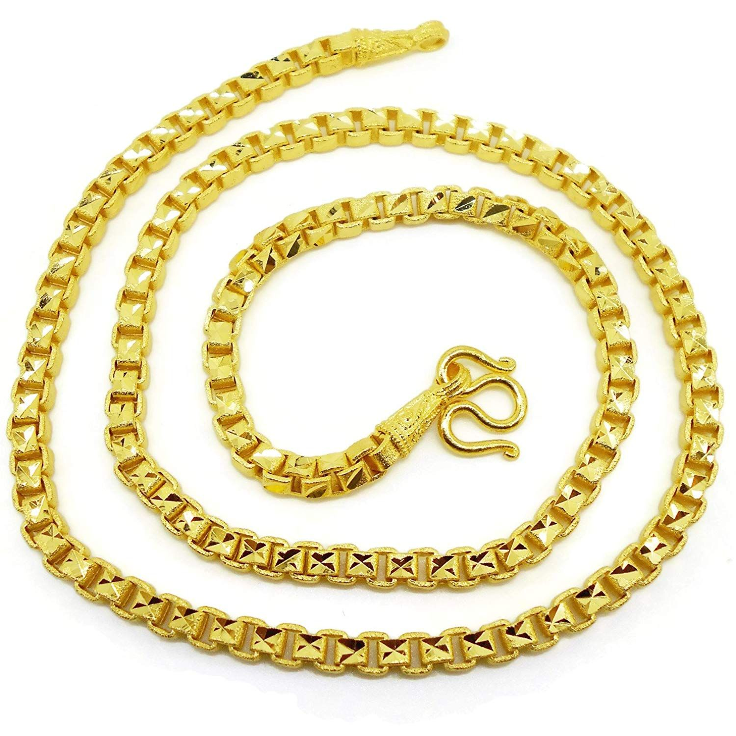 Chain 22k 23k 24k Thai Baht Gold Gp Necklace 24 Inch 55 Grams 5 Mm Jewelry Free Gift Earring 1 Pair Do Hope That You Do En Necklace Chains Necklace Jewelry