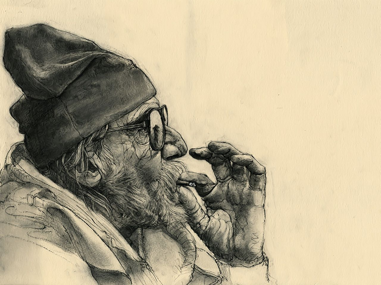 Old man smoking drawings