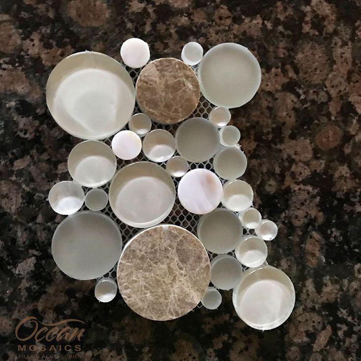 Agata Circle Shell Beige Mosaic Glass Tile Circle Tile Bathroom Glass Tile Circle Tile Backsplash