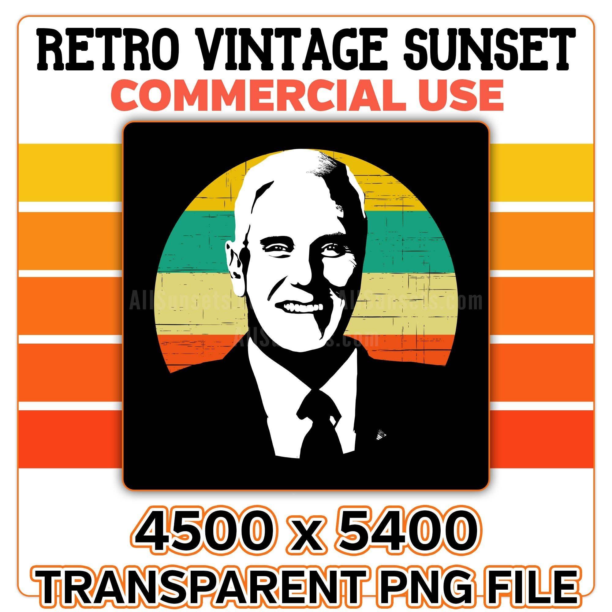 Mike Pence Retro Sunset Circle Png Vice President United Etsy Retro Sunset Digital Clip Art