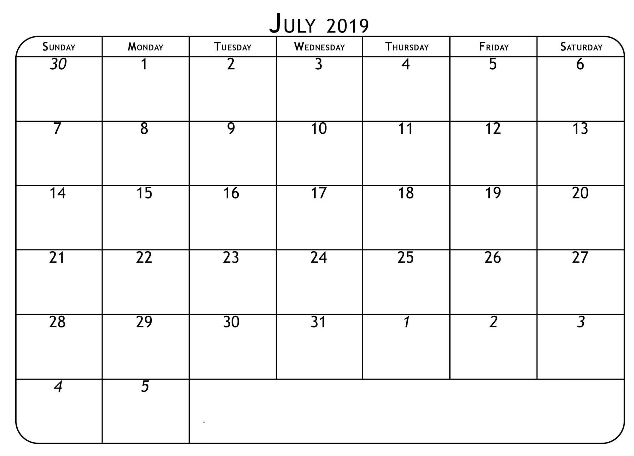 Editable July 2019 Printable Calendar Template With Notes With