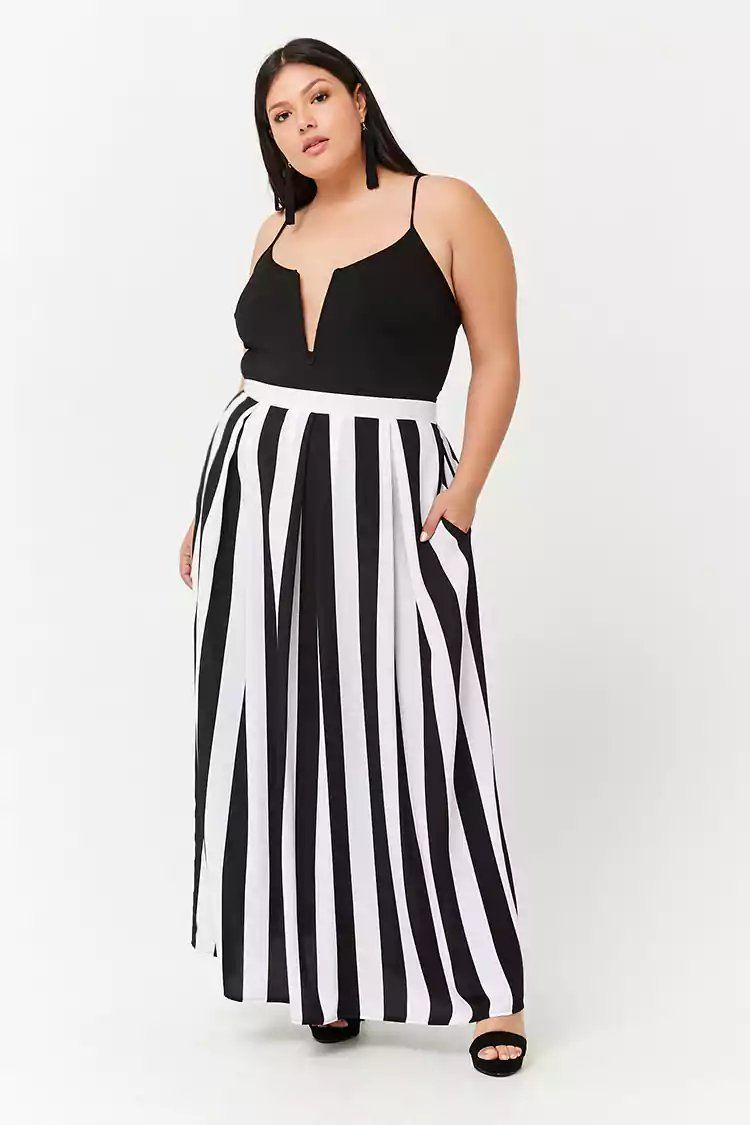 40763f5f71 Product Name:Plus Size Striped Box Pleat Maxi Skirt,  Category:plus_size-main, Price:22.9
