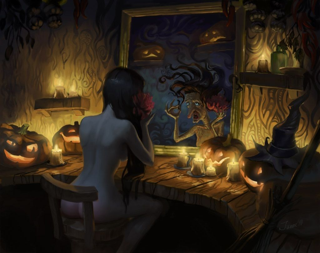 halloween-witch-fantasy-halloween-witch-mirror-girl-picture-image ...