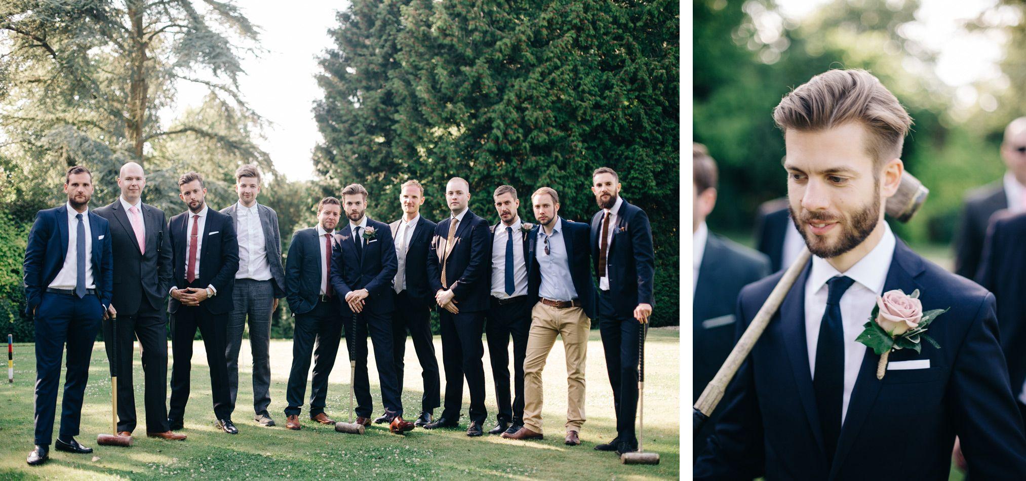 Groom Groomsmen Wedding Photography Barnsley House Cotswolds Country House Garden Stylish Luxury Fine Art Navy Suit Group Shot