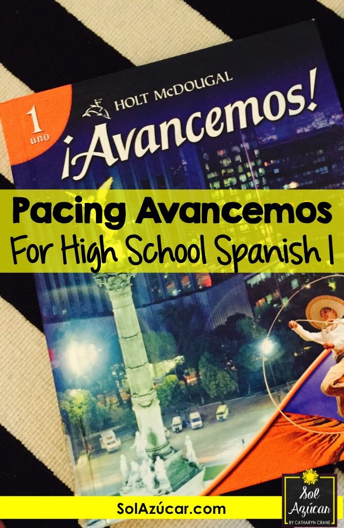 My pacing guide / curriculum map for Avancemos Book 1 - for High
