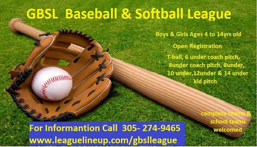 Open registration for baseball ages 4 to 14 yrs