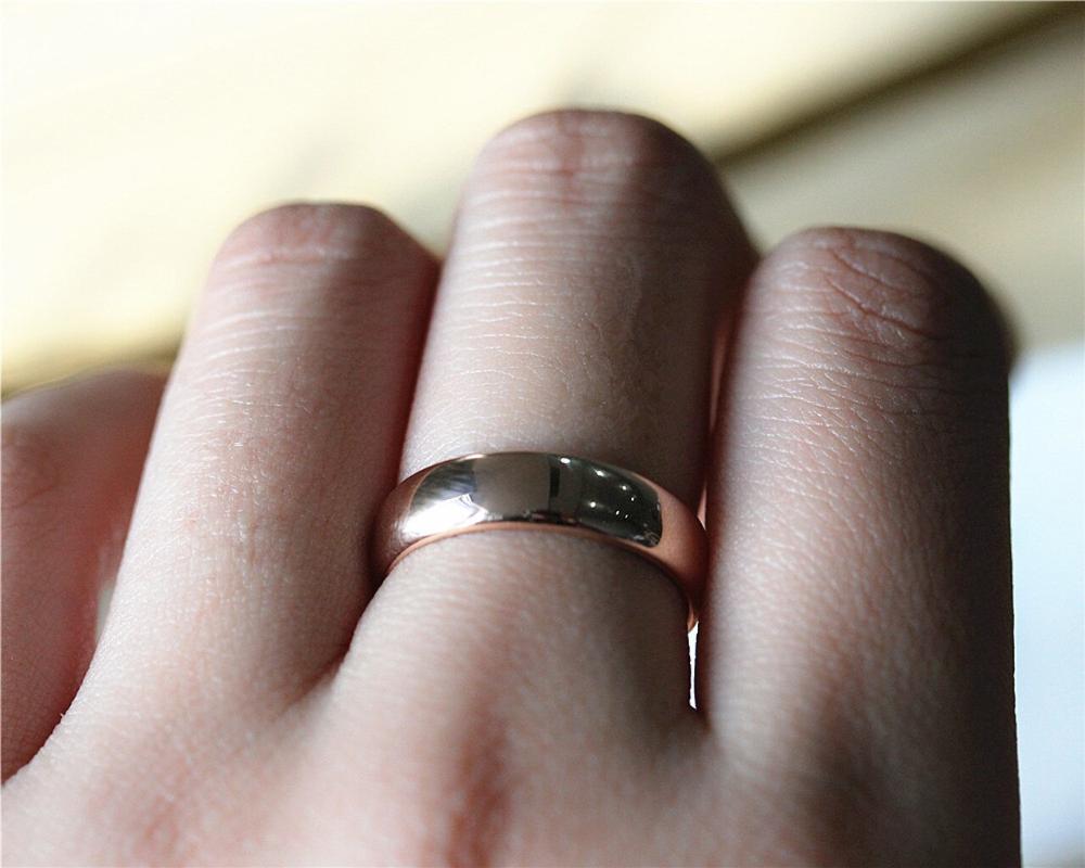 New Design Men Wedding Band Solid 18K Rose Gold Ring Plain