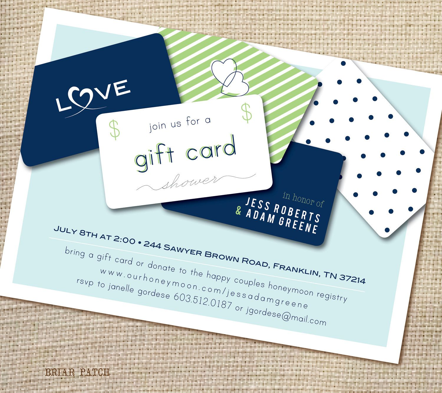 Bridal Or Couples Shower Invitation Giftcard Honeymoon Fund