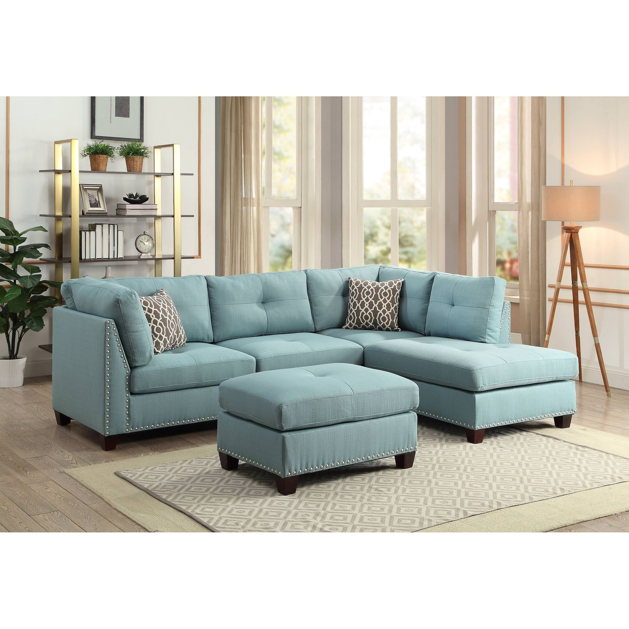 Sensational Acme Laurissa L Shape Sectional Sofa With Ottoman In Light Beatyapartments Chair Design Images Beatyapartmentscom