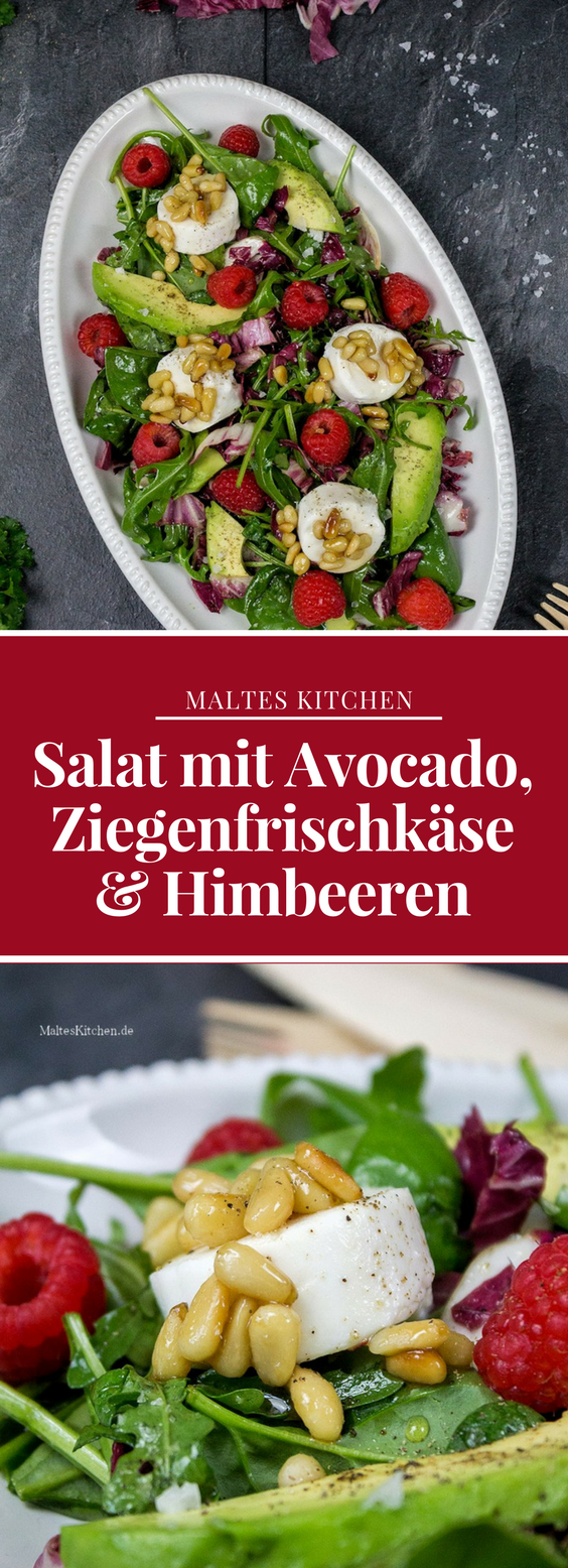 Gemischter Blattsalat Mit Avocado Ziegenfrischkäse Himbeeren Rezept
