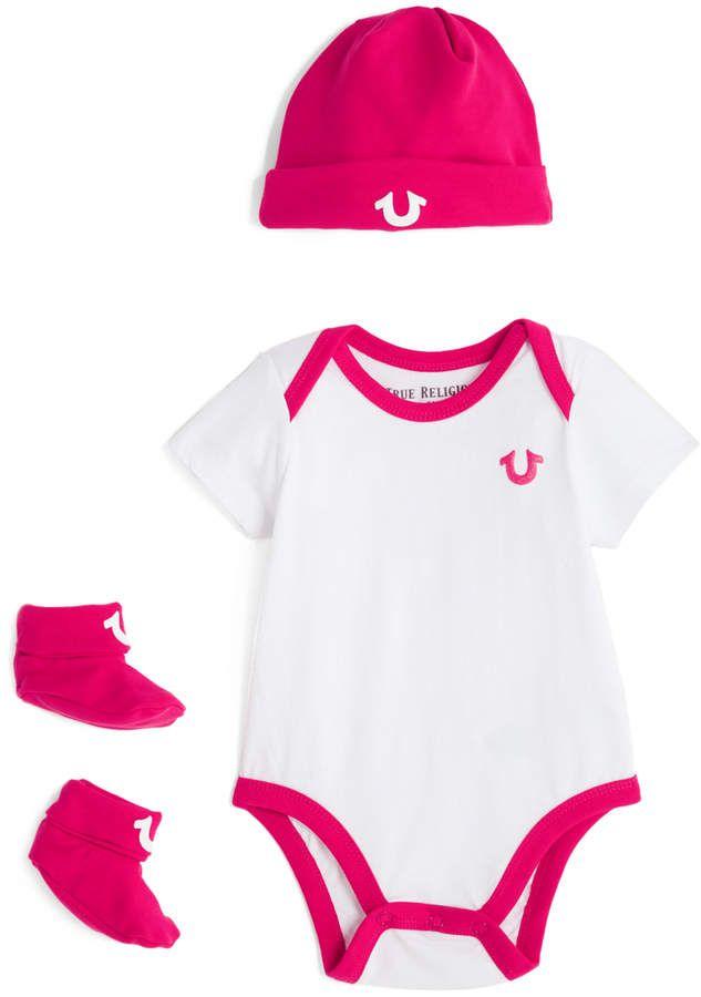 0738391b6dd4 True Religion White   Pink Three-Piece Bodysuit Set - Infant ...