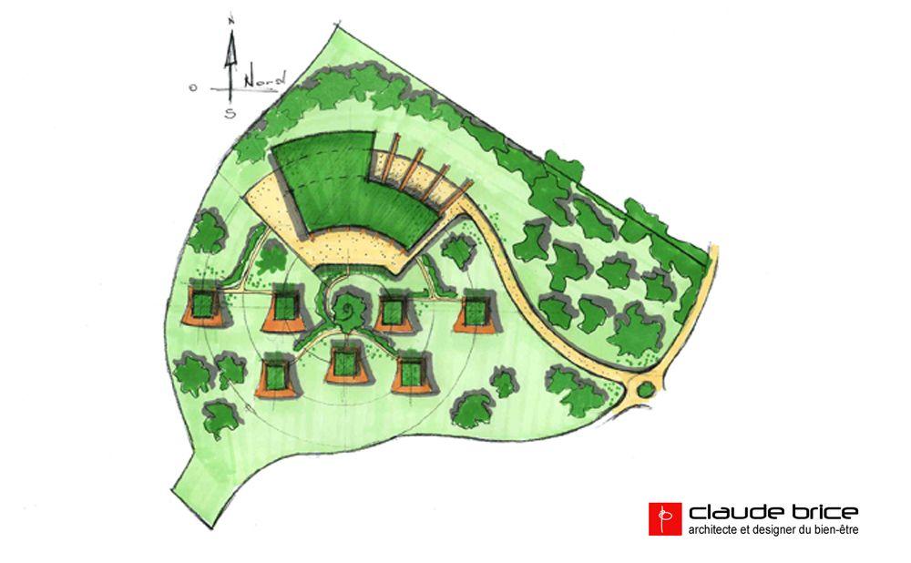 Aménagement Feng Shui - PLan de masse Eco Lodge - Claude BRICE Cob
