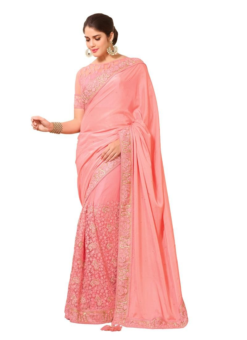 Mystic Pink Art Silk Designer Saree | The Girly Pink | Pinterest