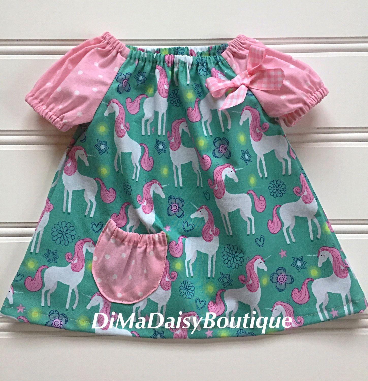 Girl Unicorn Dress, Baby Girl Dress, Girl Summer Dress, Toddler Girl ...
