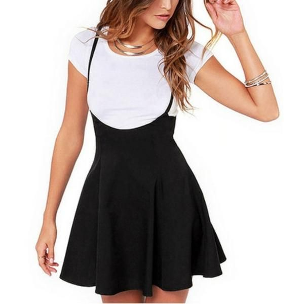 a5517bc10914d Women Black Skirt with Shoulder Straps Pleated Skirt Suspender ...