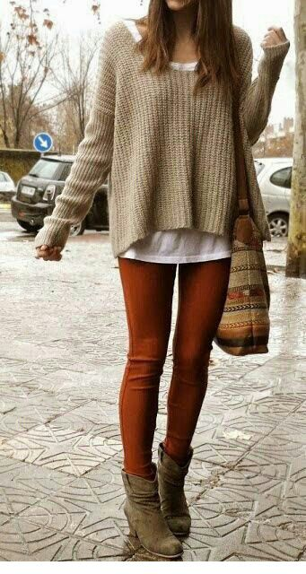 Go For Color This Fall In A Rust Orange Jean Pair It Back To Earthy Tones Like Tan Or Camel An Autumnal Weekend Outfit Fixedonfall