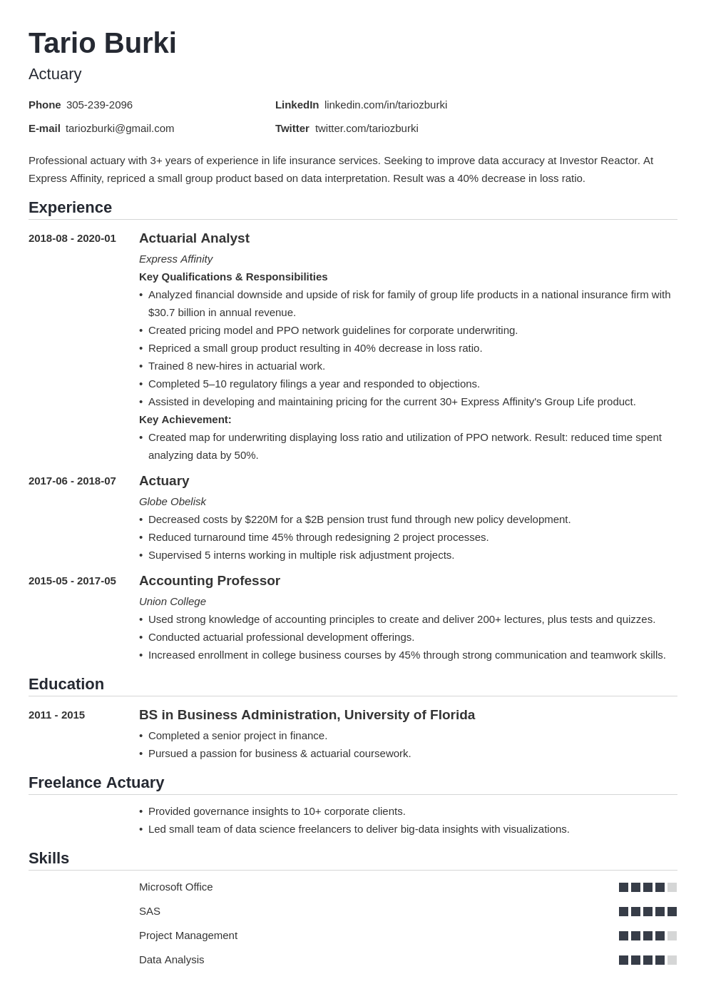 actuary resume example template nanica in 2020 Resume