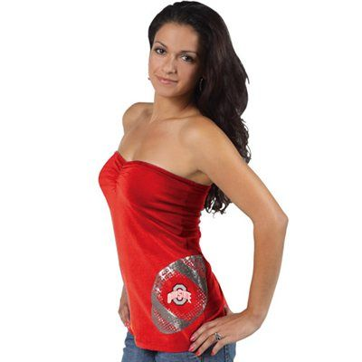 840787215f Ohio State Buckeyes Ladies Scarlet Glitter Football Tube Top  32.95 ...