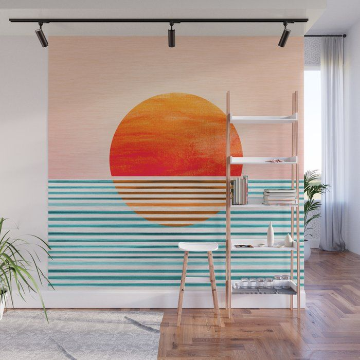 Minimalist Sunset Iii Wall Mural By Kristiangallagher Society6 Wall Murals Mural Creative Wall Painting