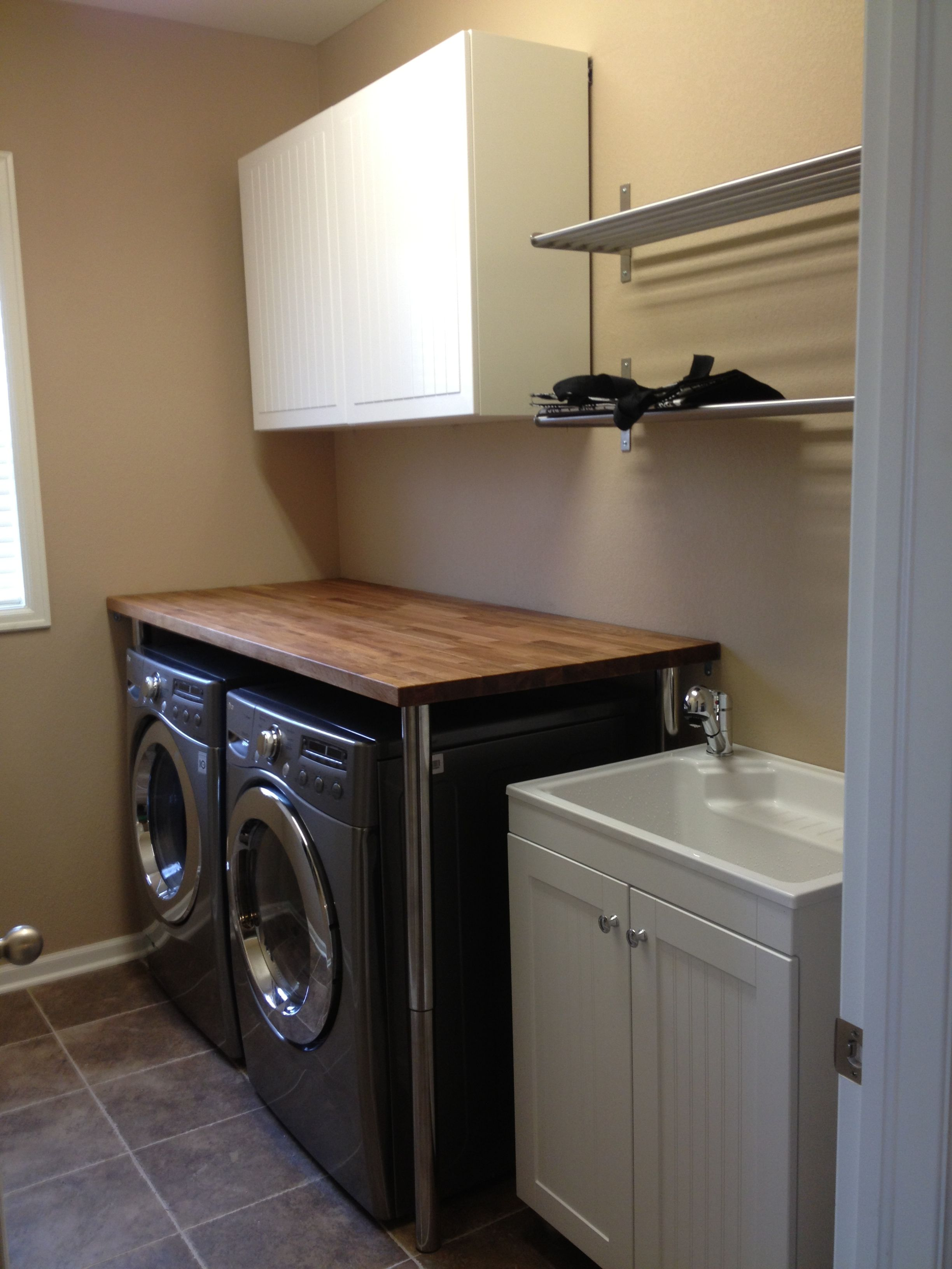 Creatively Handy Blog Small Laundry Rooms Laundry Closet Makeover Ikea Table Tops