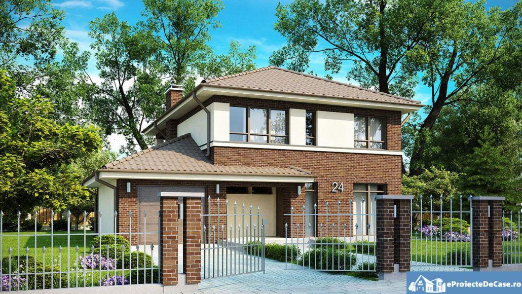 Proiecte De Case Proiecte De Case Mici Proiect Casa Cu Etaj Si Garaj E24011 Ranch Style House Plans Barn House Plans House Styles
