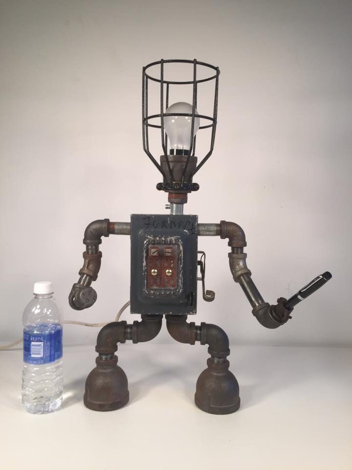 By Industro Rustro Steampunk Robot Desk Lamp Light Art Machine Age Salvage Ooak