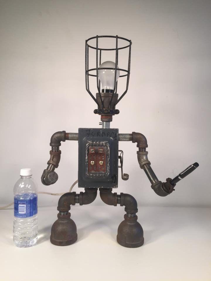 By Industro Rustro Steampunk Robot Desk Lamp Light Art Machine Age Salvage Ooak