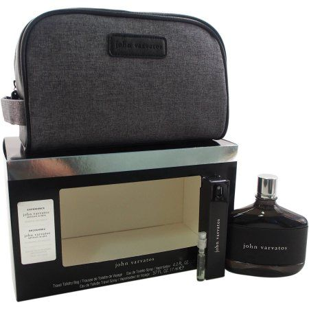 John Varvatos by John Varvatos for Men - 4 Pc Gift Set 4.2oz EDT Spray, 0.57oz EDT Travel Spray, 0.05oz EDT Spray Vial Mini, Travel Toiletry Bag