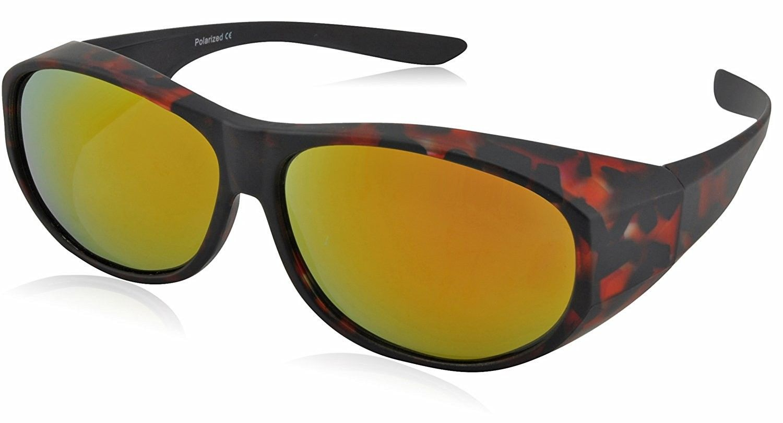Fit Over Polarized Sunglasses For Women - Wear Over Prescription Glasses -  Red   Yellow Mirrored Lens - CX186HQU785 - Women s Sunglasses ea00430fb3